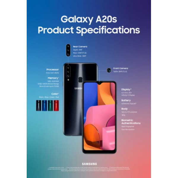 Celular Samsung Galaxy A20S SM-A207M/DS OctaCore 1.6Ghz/ 6.4 HD+/ Cam 13MP+5MP/ 3GB RAM/ Mem 32GB/  WiFi/ Dual Sim/ Finger
