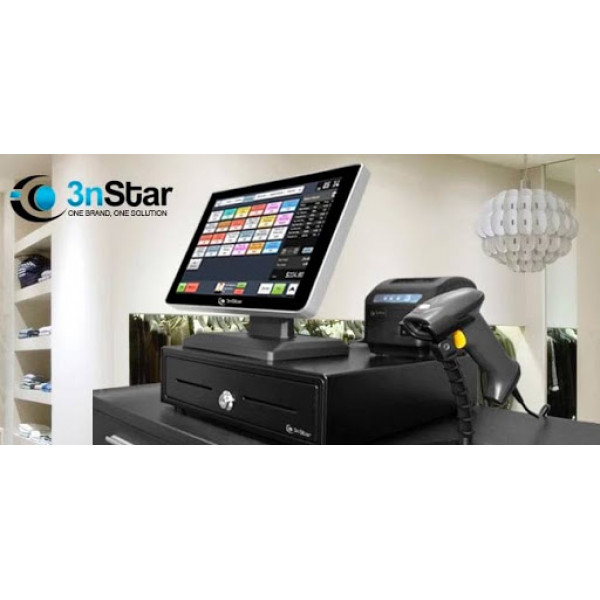 POS 3nStar PTE0105 All in One Celeron QC J1900 2.0Ghz/ 4GB DDR3/ Disco 120GB SSD/ Touch Screen 15/ WiFi