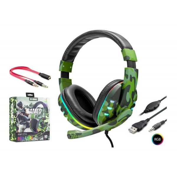 Headset gaming KR-GM602 RGB Light / Army Styl/ USB/ 1x3.5mm/ +Adaptador 1 a 2x3.5mm