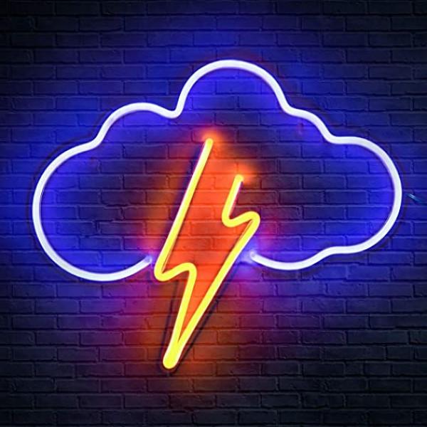 Luz led rayo y nube / 1 sola pieza
