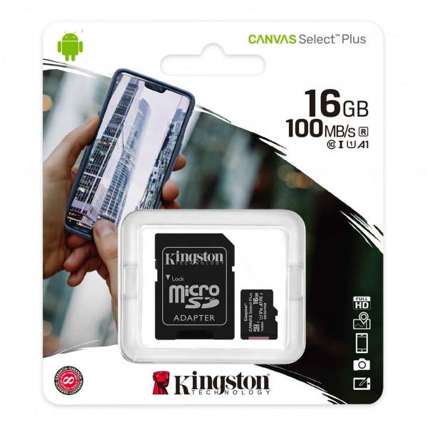 Micro SD Kingston 16GB Canvas Select Plu...