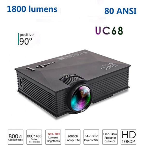 Proyector LED portátil UNIC UC68 / 1800...