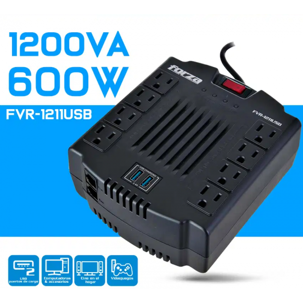 Regulador Forza FVR-1211 USB 1200VA 600W