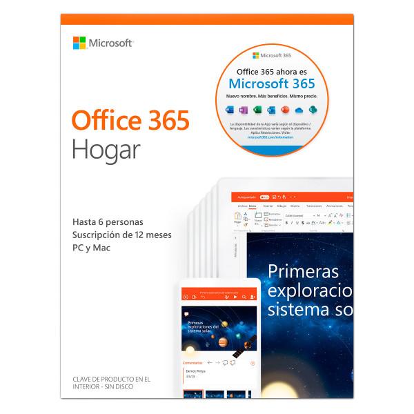 Microsoft Office 365 Hogar Suscripción 1 año para 6 PC