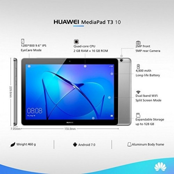 Tablet Huawei AGS-L03 MediaPad T3 10 LTE 2GB Ram/  16GB Flash/ Android/ Cam/ WiFi/ Micro SD / 3G