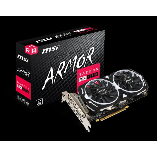 Tarjeta de Video MSI Radeon RX 570 Armor 8GB DDR5 OC/ 256bit/3xDP, 1xHDMI, 1xDVI-D/ VR Ready/ Freesync 2
