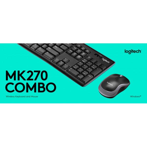 Combo de Teclado y Mouse Optico Logitech Inhalambrico MK270 English