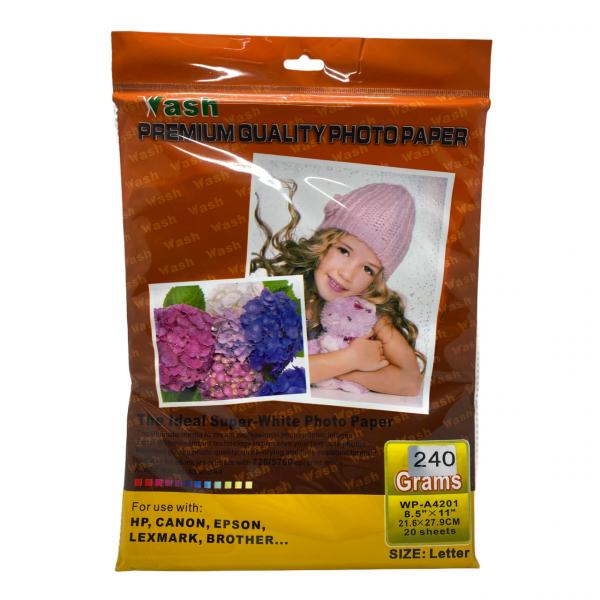 Papel Fotografico Wash 8.5x11 240 Gramos...